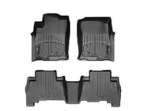 WeatherTech Floor Liners Full Set for Toyota 2016-2017 Tacoma Double Cab With Automatic (1st and 2nd Rows) - Black
